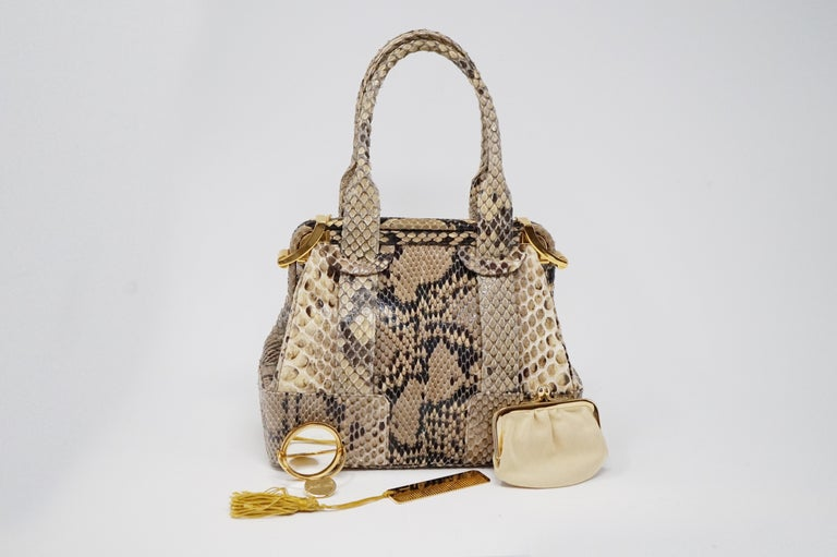 Judith Leiber Python Structured Frame Bag with Trio of Accessories For Sale 8