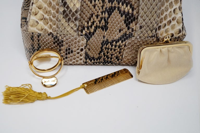 Judith Leiber Python Structured Frame Bag with Trio of Accessories For Sale 9