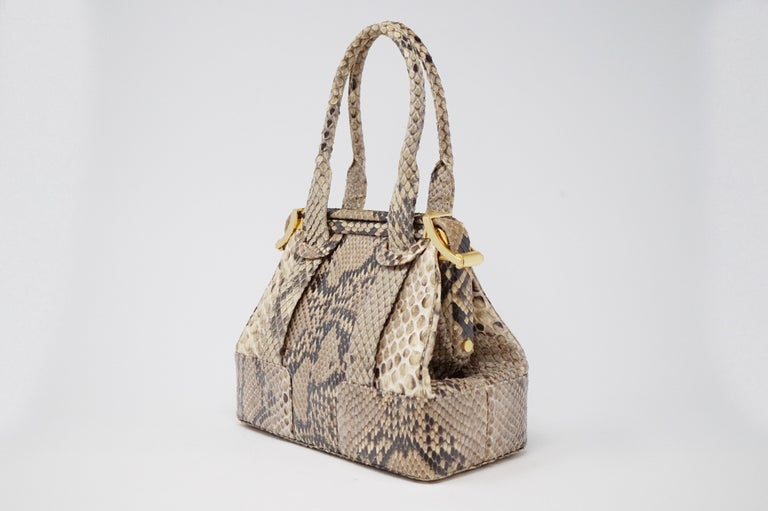 Brown Judith Leiber Python Structured Frame Bag with Trio of Accessories For Sale