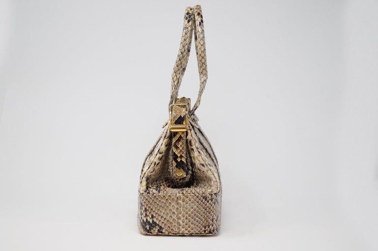Judith Leiber Python Structured Frame Bag with Trio of Accessories In Excellent Condition For Sale In Los Angeles, CA