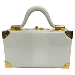 Judith Leiber Rare 1960s Taupe Patent Leather Suit Case Mini Handbag