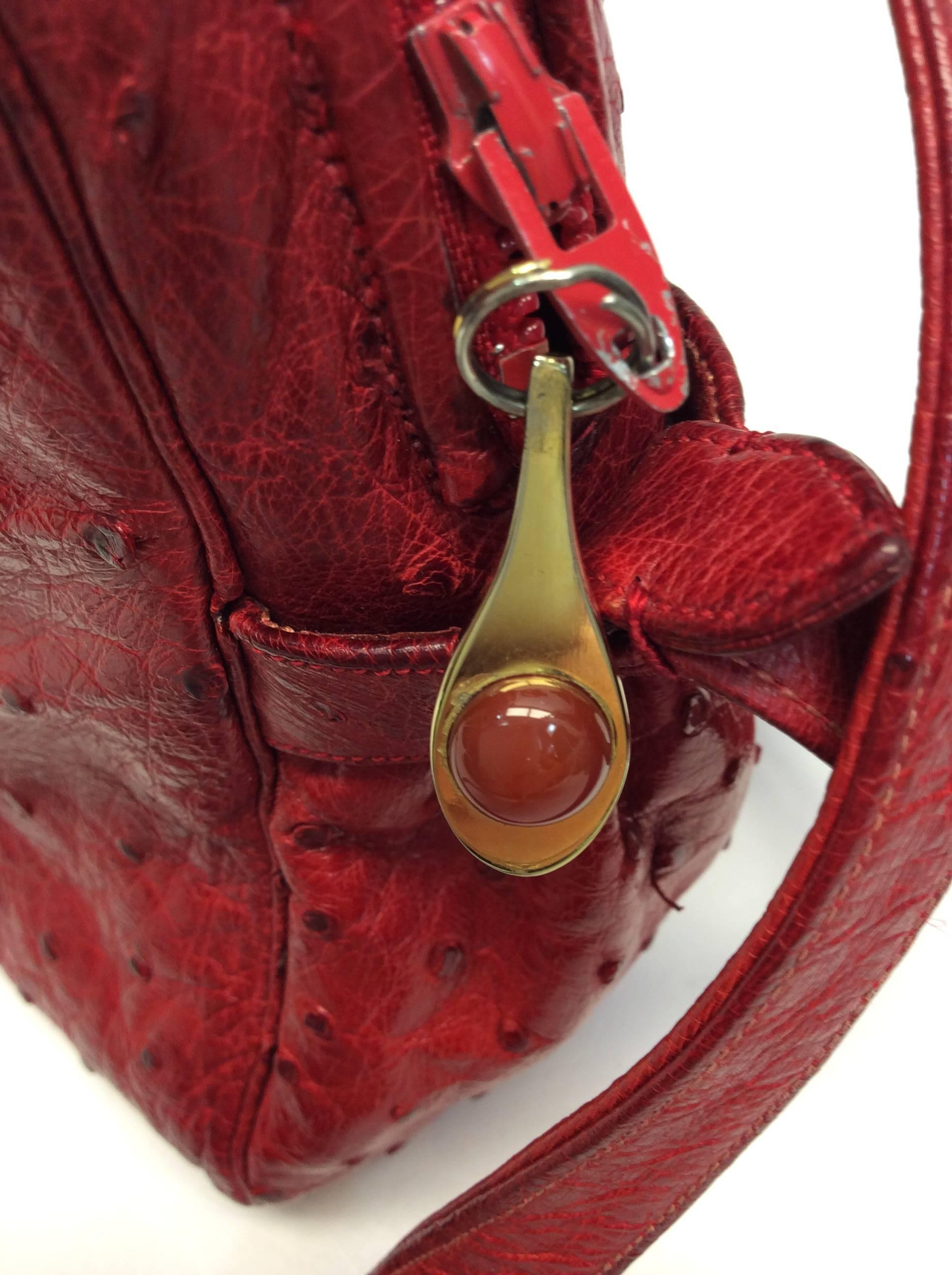 b5ea4589e6 Judith Leiber Red Ostrich Leather Vintage Crossbody For Sale at 1stdibs