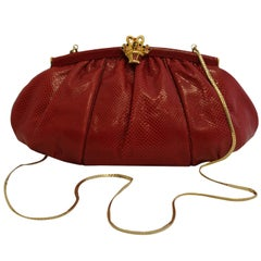 Judith Leiber Red Reptile Gathered Clutch Bag W/ Gold Tone Basket Hinge Closure