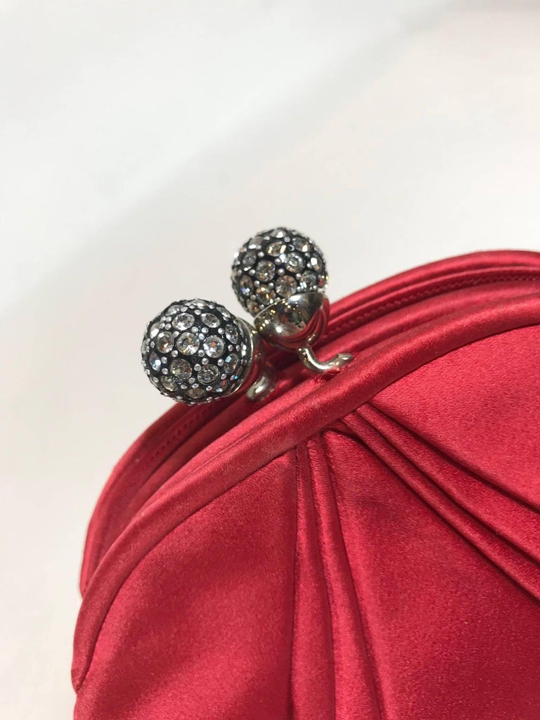 Judith Leiber Red Satin Clutch For Sale 2