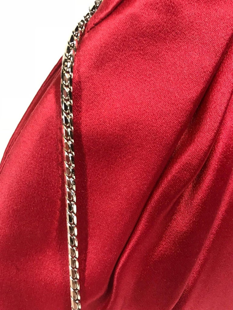 Judith Leiber Red Satin Clutch For Sale 3