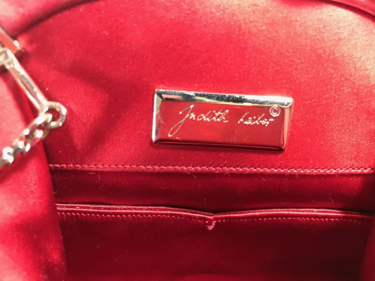 Judith Leiber Red Satin Clutch For Sale 4