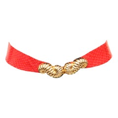 Judith Leiber Red Skin Belt W/ Gold Clasp