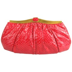 Judith Leiber Red Snake Skin Clutch Handbag