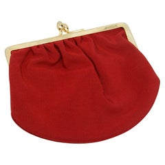 Judith Leiber Red Suede Clutch