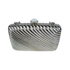 JUDITH LEIBER Ribbed Crystal Minaudiere Clutch Runway Ready New, Never used