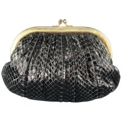 JUDITH LEIBER Ruched Black Snake Skin Evening Handbag