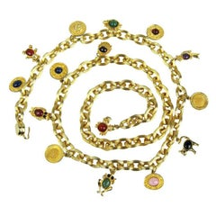 JUDITH LEIBER Semi Precious Stone Charm Belt never worn 1980s