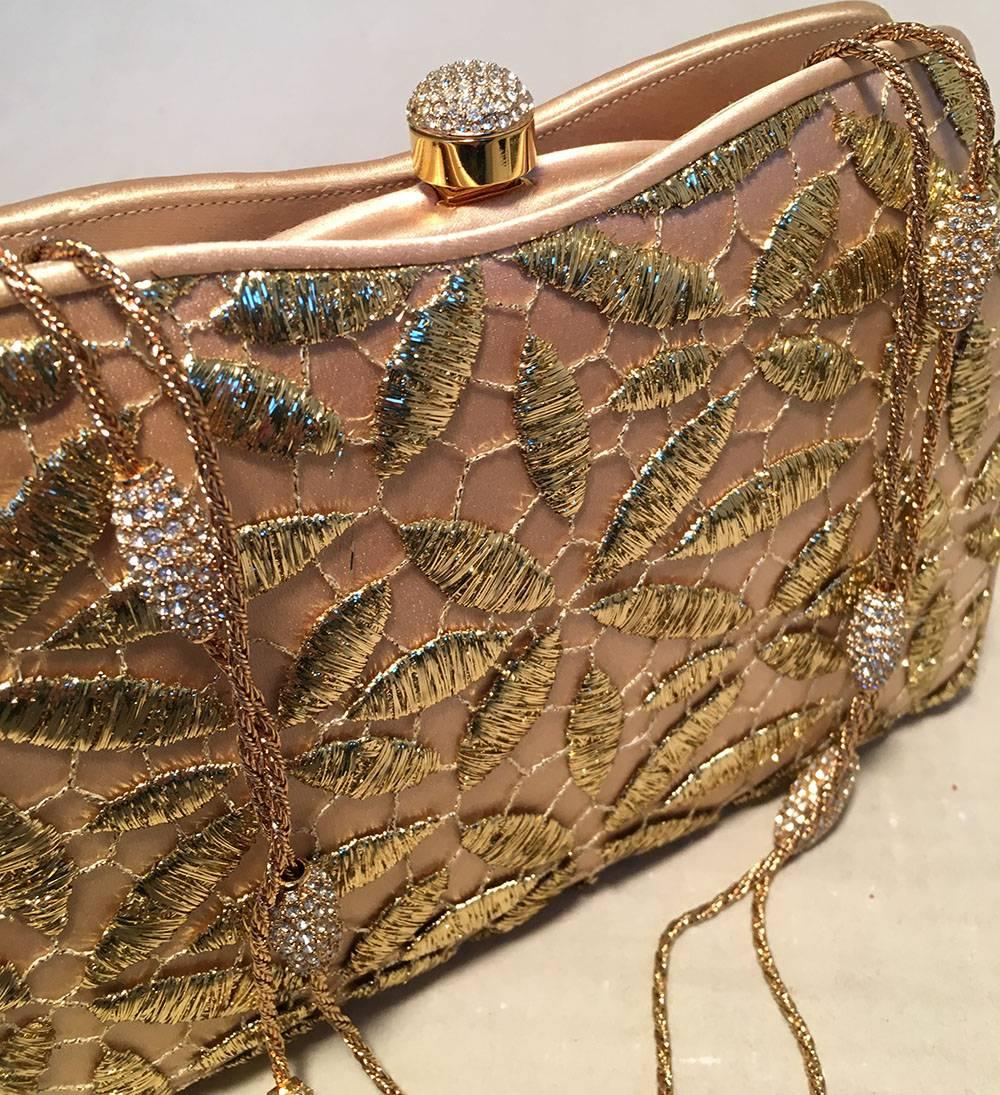 Judith Leiber Silk And Gold Embroidery Evening Bag QQEYVaJl