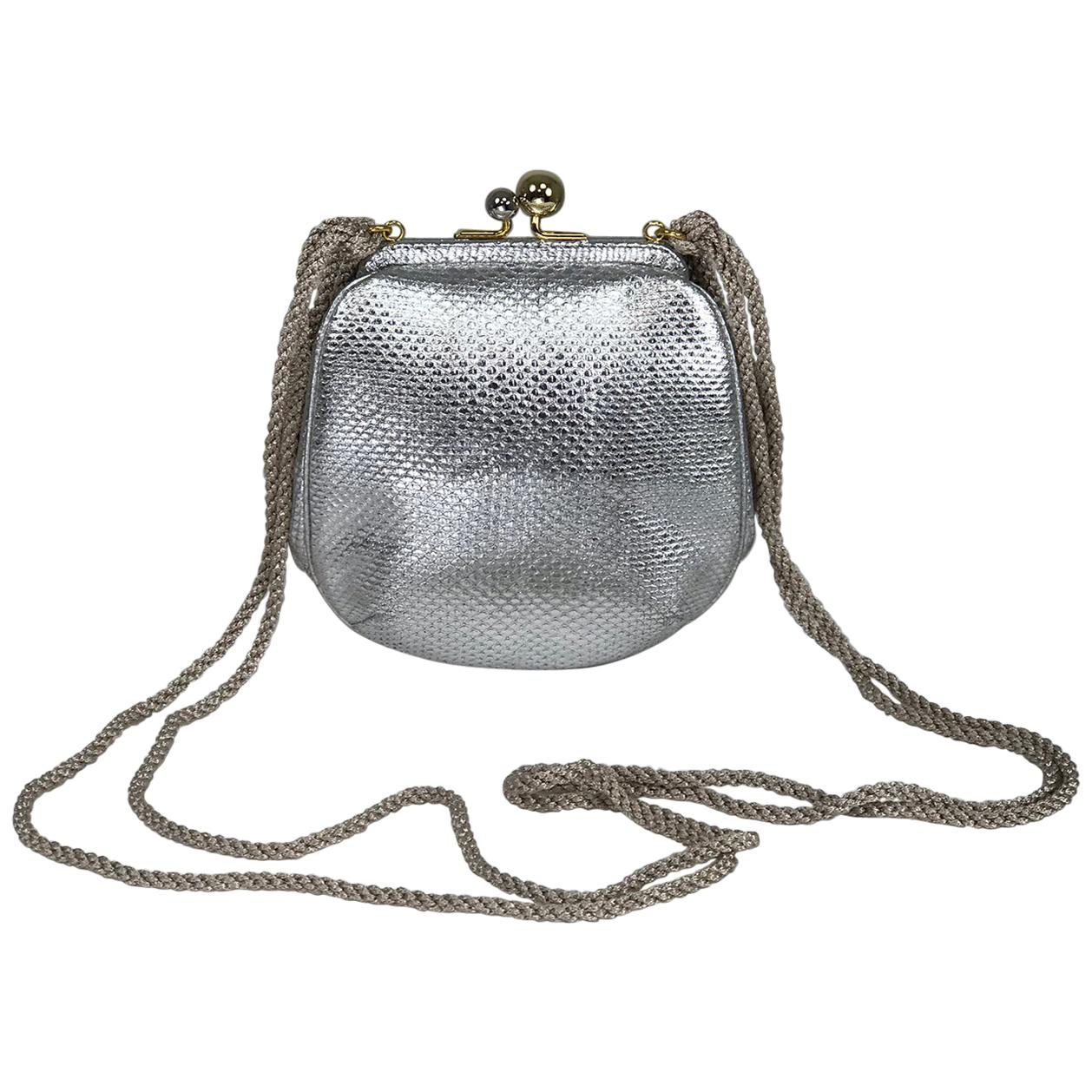 Judith Leiber Silver Karung Leather Gold Clasp Evening Bag