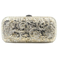 Judith Leiber Silver Metal and Crystal Floral Oblong Minaudière Evening Bag