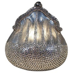 Judith Leiber Silver Metal and Swarovski Crystal Coin Pouch Minaudiere
