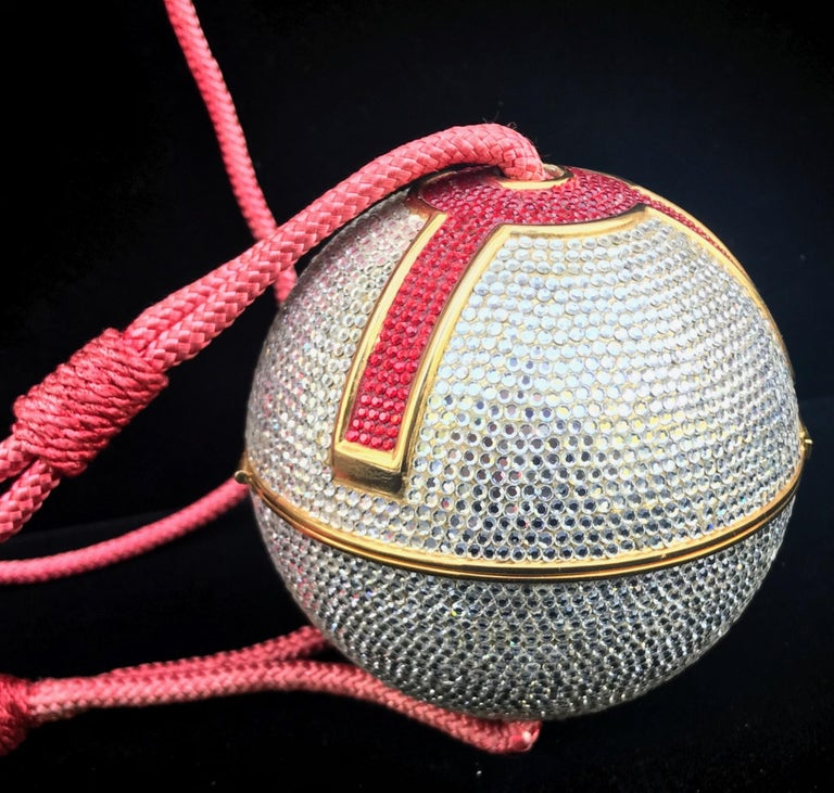Judith Leiber Silver, Red, Swarovski Crystal Ball Minaudiere, Evening Bag For Sale 5