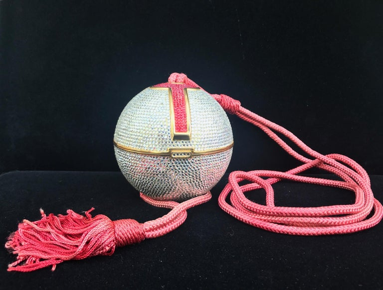 Judith Leiber Silver, Red, Swarovski Crystal Ball Minaudiere, Evening Bag For Sale 8