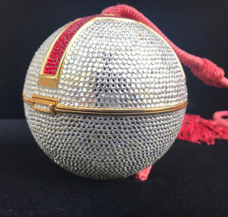 Italian Judith Leiber Silver, Red, Swarovski Crystal Ball Minaudiere, Evening Bag For Sale