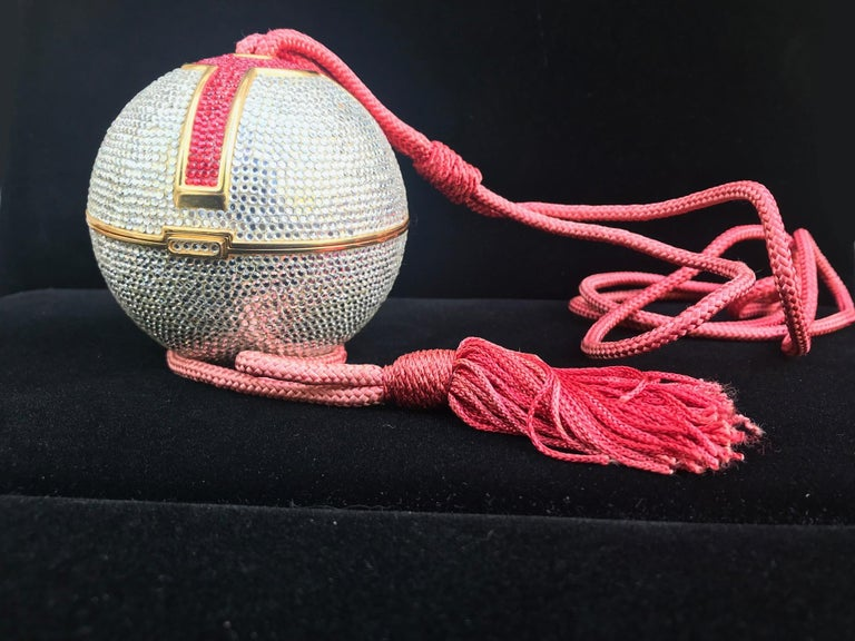 Judith Leiber Silver, Red, Swarovski Crystal Ball Minaudiere, Evening Bag In Good Condition For Sale In Poughkeepsie, NY
