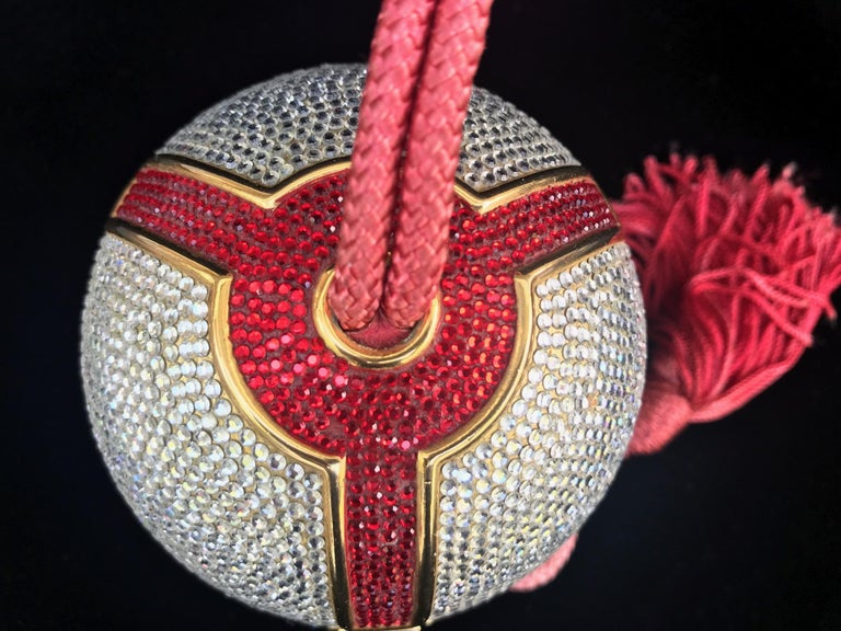 Late 20th Century Judith Leiber Silver, Red, Swarovski Crystal Ball Minaudiere, Evening Bag For Sale