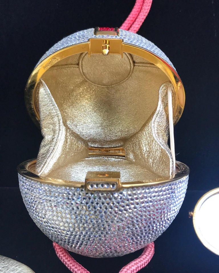 Judith Leiber Silver, Red, Swarovski Crystal Ball Minaudiere, Evening Bag For Sale 2
