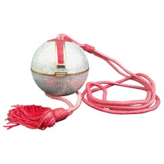Judith Leiber Silver, Red, Swarovski Crystal Ball Minaudiere, Evening Bag