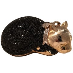 Judith Leiber Swarovski Crystal Black and Gold Cat Minaudiere