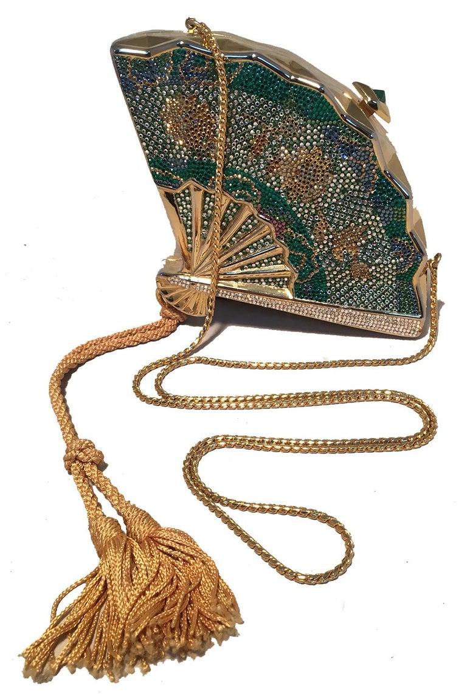 Judith Leiber Swarovski Crystal Fan Minaudiere Evening Bag Clutch Wristlet For Sale 2
