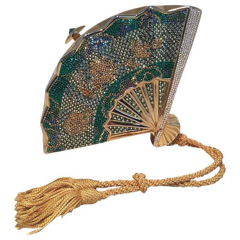 Judith Leiber Swarovski Crystal Fan Minaudiere Evening Bag Clutch Wristlet For Sale