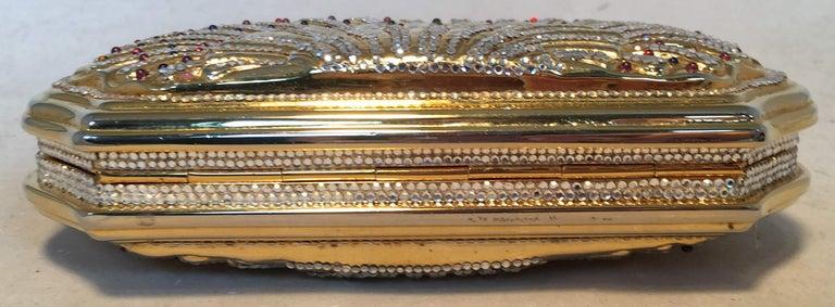 Women's Judith Leiber Swarovski Crystal Gemstone Shell Minaudiere Evening Bag For Sale