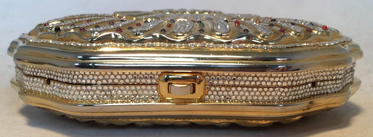 Judith Leiber Swarovski Crystal Gemstone Shell Minaudiere Evening Bag For Sale 1