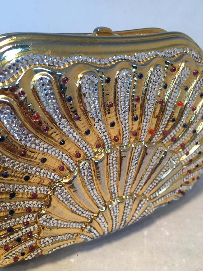 Judith Leiber Swarovski Crystal Gemstone Shell Minaudiere Evening Bag For Sale 2