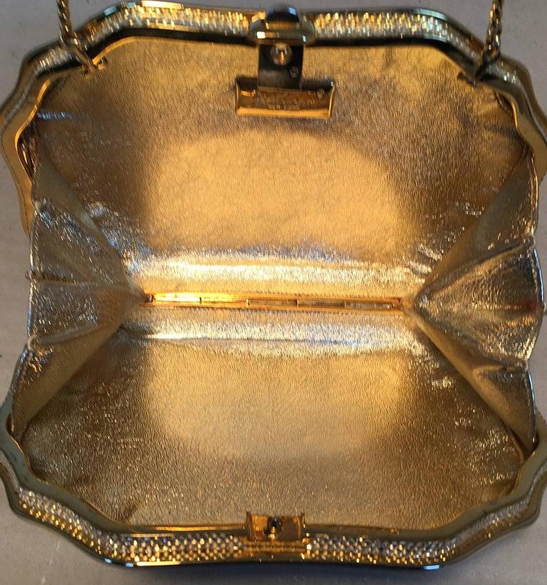 Judith Leiber Swarovski Crystal Gemstone Shell Minaudiere Evening Bag For Sale 3