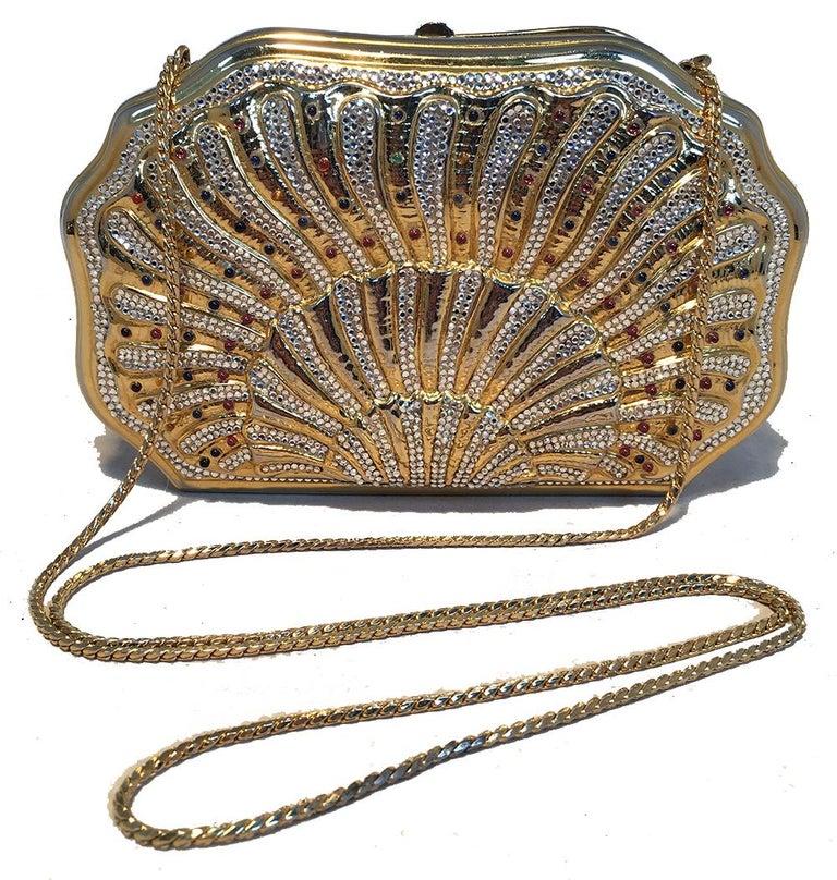 Judith Leiber Swarovski Crystal Gemstone Shell Minaudiere Evening Bag For Sale 5