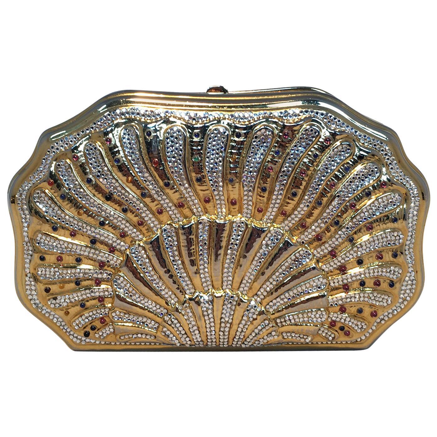 Judith Leiber Swarovski Crystal Gemstone Shell Minaudiere Evening Bag