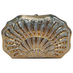 Judith Leiber Swarovski Crystal Gemstone Shell Minaudiere Evening Bag