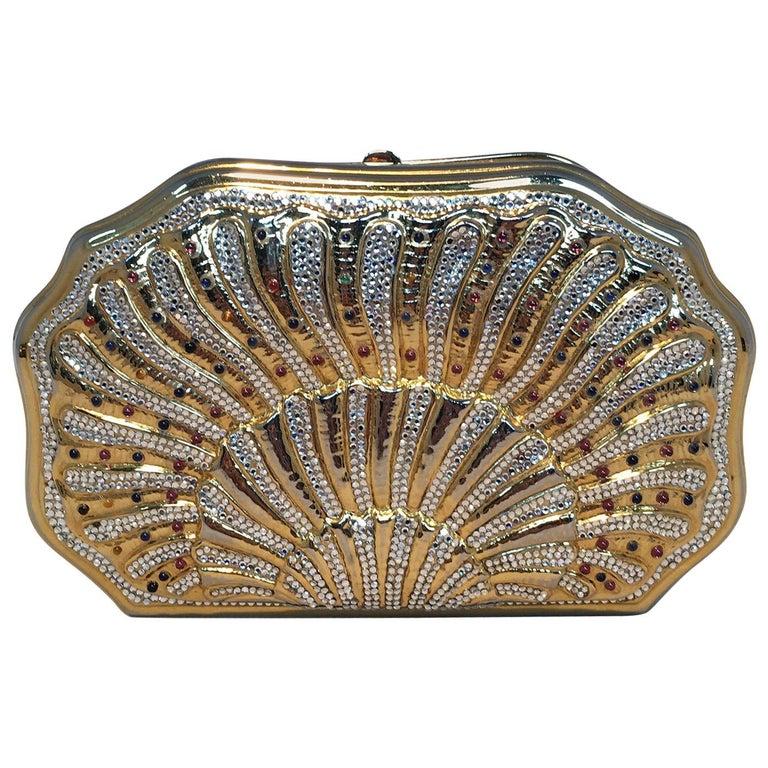 Judith Leiber Swarovski Crystal Gemstone Shell Minaudiere Evening Bag For Sale