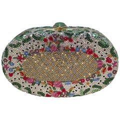 Judith Leiber Vintage Swarovski Crystal Floral Flower Minaudiere Evening Bag