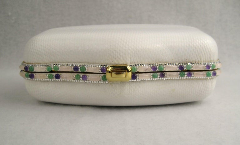 Judith Leiber White Karung Convertible Clutch With Semi Precious Jewels In Good Condition For Sale In Wallkill, NY