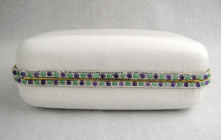 Judith Leiber White Karung Convertible Clutch With Semi Precious Jewels For Sale 2