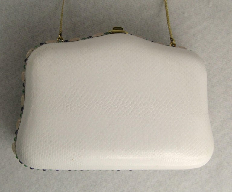 Judith Leiber White Karung Convertible Clutch With Semi Precious Jewels For Sale 3