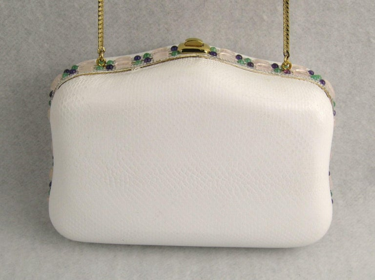 Judith Leiber White Karung Convertible Clutch With Semi Precious Jewels For Sale 4