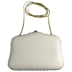 Judith Leiber White Karung Convertible Clutch With Semi Precious Jewels
