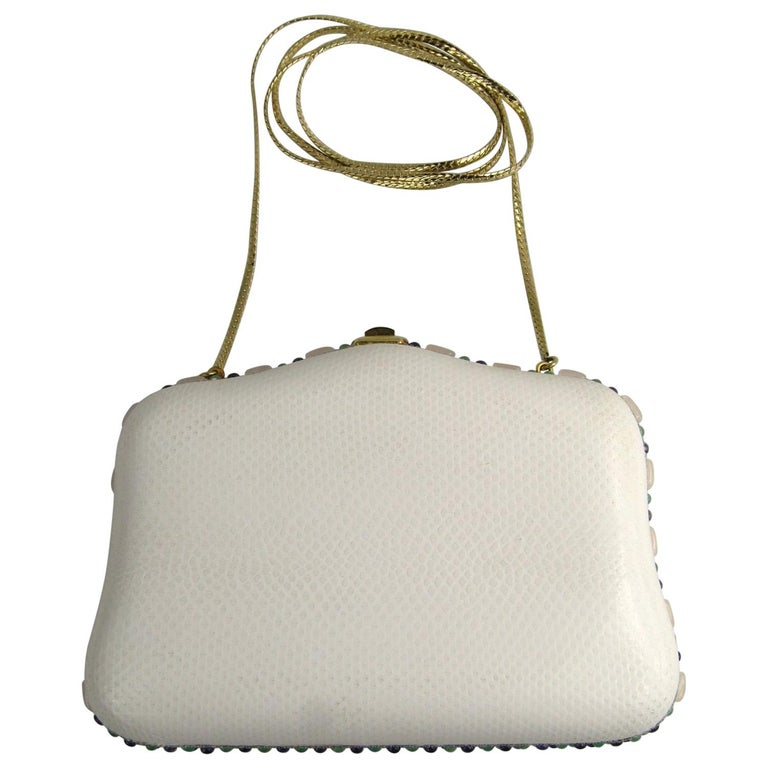 Judith Leiber White Karung Convertible Clutch With Semi Precious Jewels For Sale