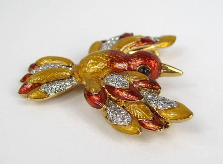 Women's Judith Lieber French Enamel Hummingbird Bird Brooch and Earrings For Sale