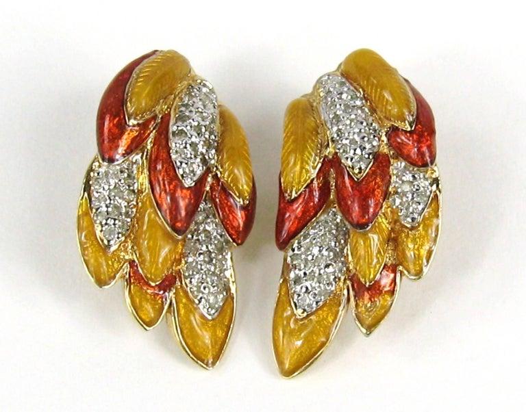 Judith Lieber French Enamel Hummingbird Bird Brooch and Earrings For Sale 3