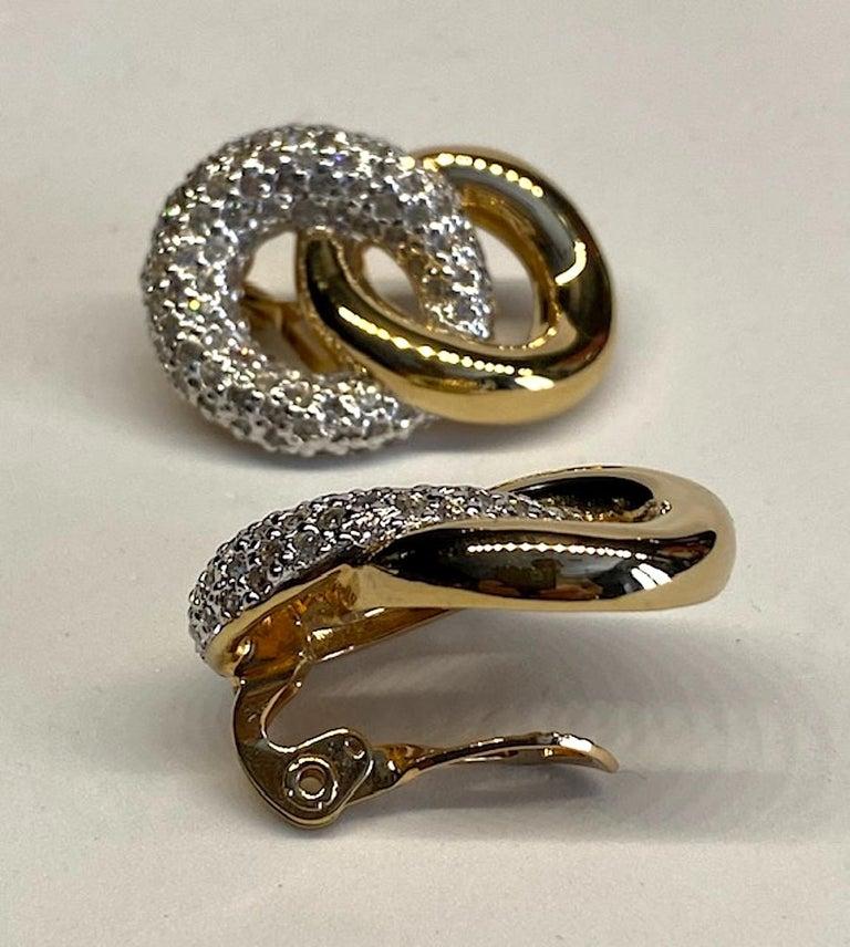 Judith Lieber Gold & Rhinestone Link Earrings For Sale 7