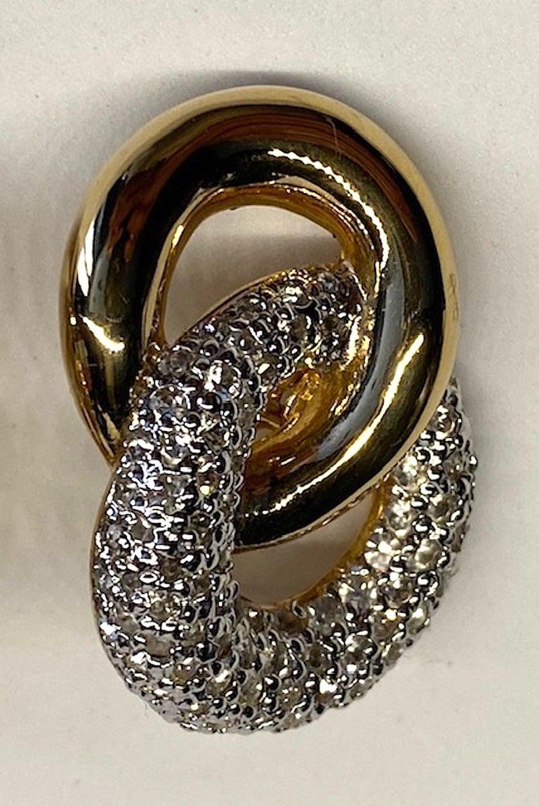 Judith Lieber Gold & Rhinestone Link Earrings For Sale 8