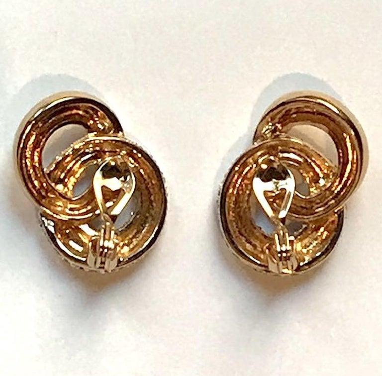 Judith Lieber Gold & Rhinestone Link Earrings For Sale 9